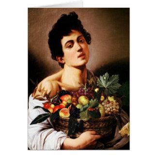 Muchacho de Caravaggio con una cesta de fruta Tarjeta De Felicitación