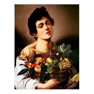 Muchacho de Caravaggio con una cesta de fruta Tarjetas Postales