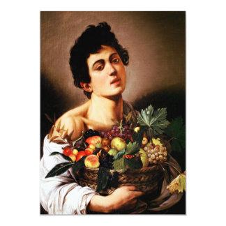 """Muchacho de Caravaggio con una cesta de Invitación 5"""" X 7"""""""
