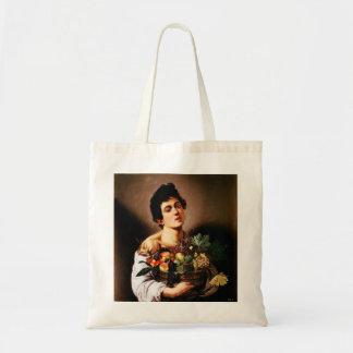 Muchacho de Caravaggio con una cesta de la bolsa d