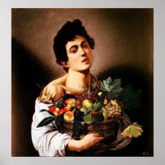 Muchacho de Caravaggio con una cesta de poster de