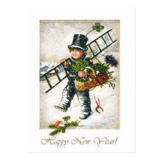 Muchacho de Chimneysweep del Año Nuevo del vintage Tarjetas Postales