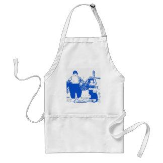 Muchacho de Delft y gato azules, holandeses Delantal