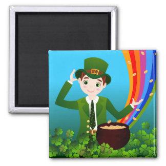 Muchacho de día de St Patrick que se divierte Imán Cuadrado