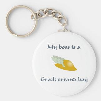 Muchacho de diligencia griego llavero redondo tipo pin