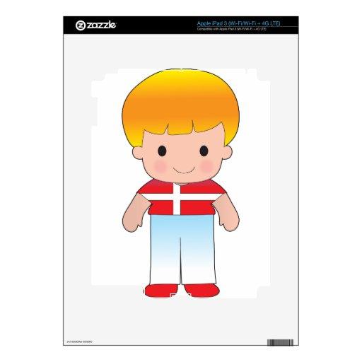 Muchacho de Dinamarca de la amapola iPad 3 Pegatinas Skins