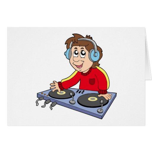 Muchacho de DJ del dibujo animado Tarjeta De Felicitación