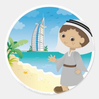 Muchacho de Dubai Pegatina Redonda