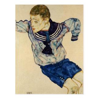 Muchacho de Egon Schiele- en un juego de marinero Postales