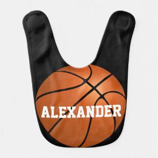 Muchacho de encargo personalizado baloncesto de babero de bebé