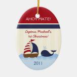 Muchacho de encargo personalizado Nautica del Ornamento Para Reyes Magos