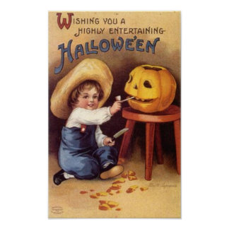 Muchacho de entretenimiento de Halloween que talla Póster