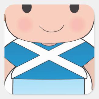 Muchacho de Escocia de la amapola Pegatina Cuadrada
