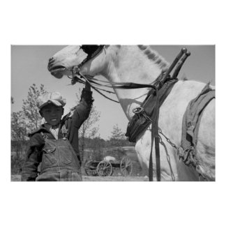 Muchacho de granja con el caballo de paleta, los a impresiones