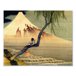 Muchacho de Hokusai que ve el vintage del japonés Cojinete