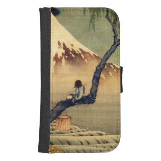 Muchacho de Hokusai que ve el vintage del japonés Funda Tipo Billetera Para Galaxy S4