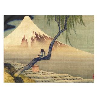 Muchacho de Hokusai que ve el vintage del japonés Mantel De Tela