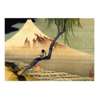 Muchacho de Hokusai que ve el vintage del japonés Impresión Fotográfica
