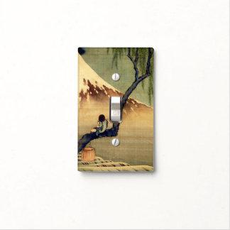 Muchacho de Hokusai que ve el vintage del japonés Tapas Para Interruptores