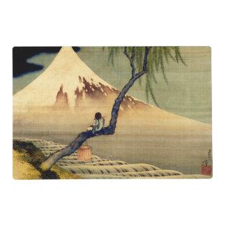Muchacho de Hokusai que ve el vintage del japonés Tapete Individual