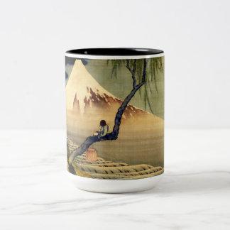 Muchacho de Hokusai que ve el vintage del japonés Taza De Dos Tonos