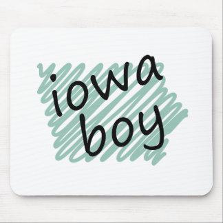 Muchacho de Iowa en el dibujo del mapa de Iowa del Alfombrilla De Raton