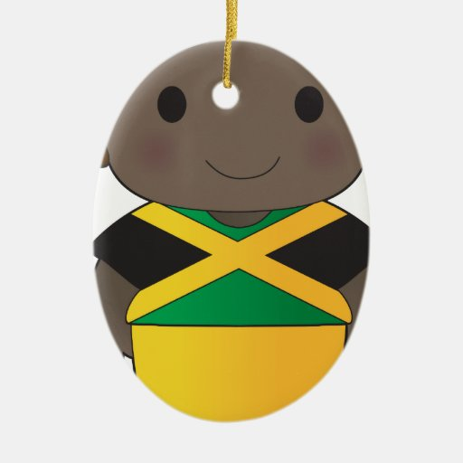 Muchacho de Jamaica de la amapola Adorno Navideño Ovalado De Cerámica