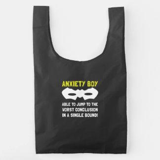 Muchacho de la ansiedad bolsa reutilizable