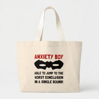 Muchacho de la ansiedad bolsa tela grande