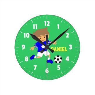 Muchacho de la estrella de fútbol, tema del fútbol relojes