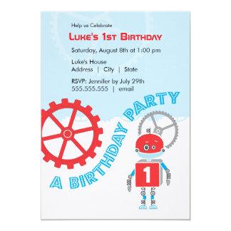 Muchacho de la fiesta de cumpleaños del robot el | invitación 12,7 x 17,8 cm