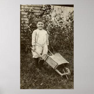 Muchacho de la foto del vintage y impresión de la  póster