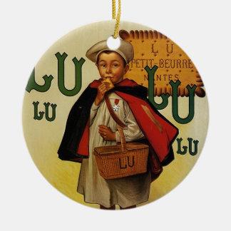 Muchacho de la galleta de Lefevre Lu Lu en cabo Adorno Navideño Redondo De Cerámica