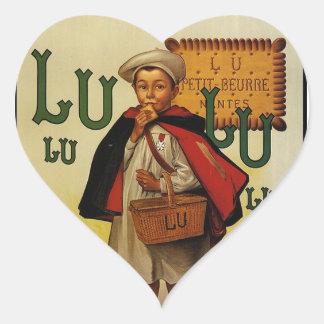 Muchacho de la galleta de Lefevre Lu Lu en cabo Pegatina En Forma De Corazón