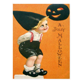 Muchacho de la linterna de Jack O de la calabaza Postal