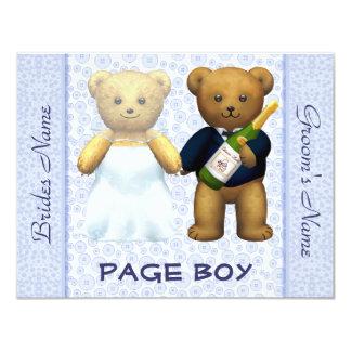 """Muchacho de la página - el boda azul de los osos invitación 4.25"""" x 5.5"""""""