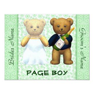"""Muchacho de la página - el boda verde de los osos invitación 4.25"""" x 5.5"""""""