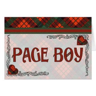 Muchacho de la página - invitación - tartán escocé tarjeta de felicitación