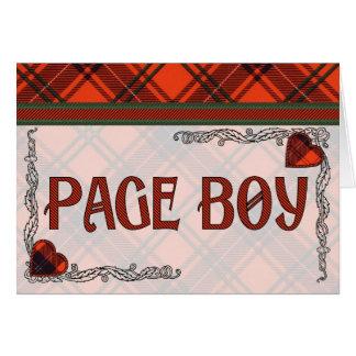 Muchacho de la página - invitación - tartán escocé tarjeta pequeña