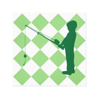 Muchacho de la pesca en controles verdes impresión en tela