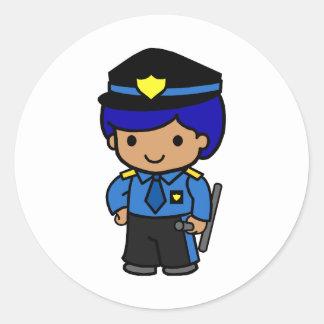 Muchacho de la policía pegatina redonda