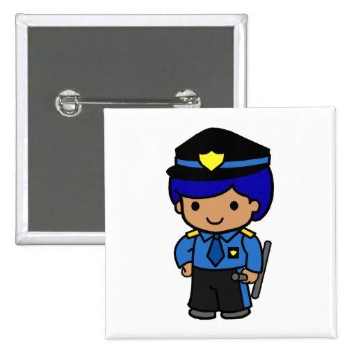 Muchacho de la policía pin cuadrada 5 cm