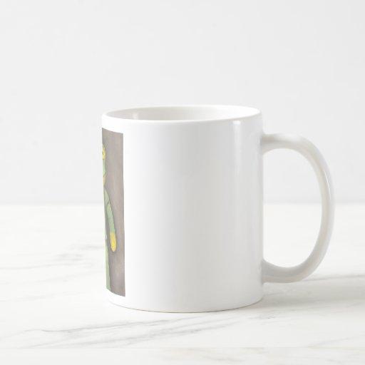 Muchacho de la rana taza básica blanca