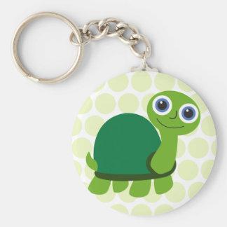 Muchacho de la tortuga llavero redondo tipo pin