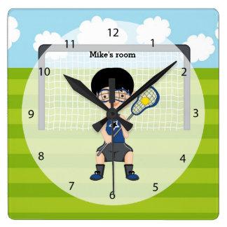 Muchacho de LaCrosse Reloj Cuadrado