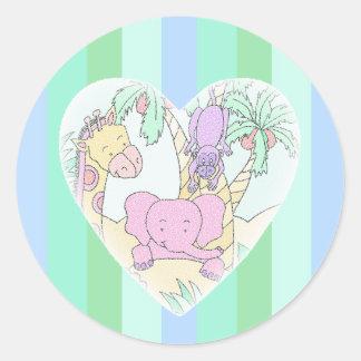 Muchacho de las bendiciones del corazón del bebé pegatinas redondas