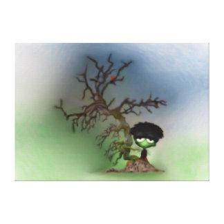 Muchacho de los bonsais impresion en lona