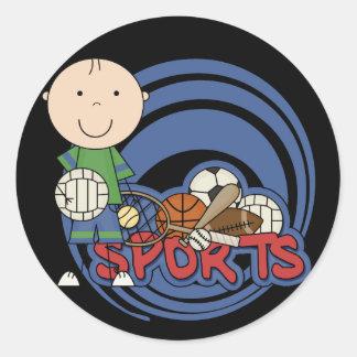 Muchacho de los deportes - camisetas y regalos del etiquetas redondas