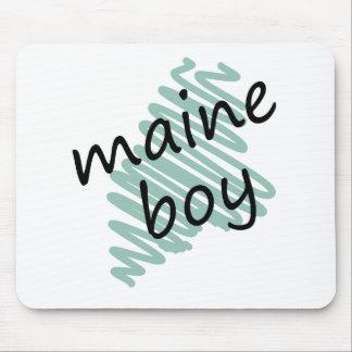 Muchacho de Maine en el dibujo del mapa de Maine d Tapete De Ratones