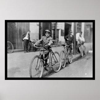 Muchacho de mensajero y bicicleta 1911 impresiones